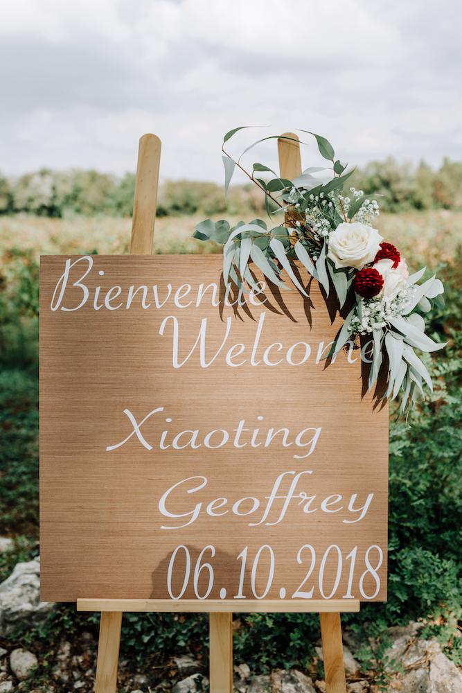 le coeur dans les etoiles - wedding planner - provence - luberon - organisation mariage - mariage automne - nicolas terraes - panneau accueil