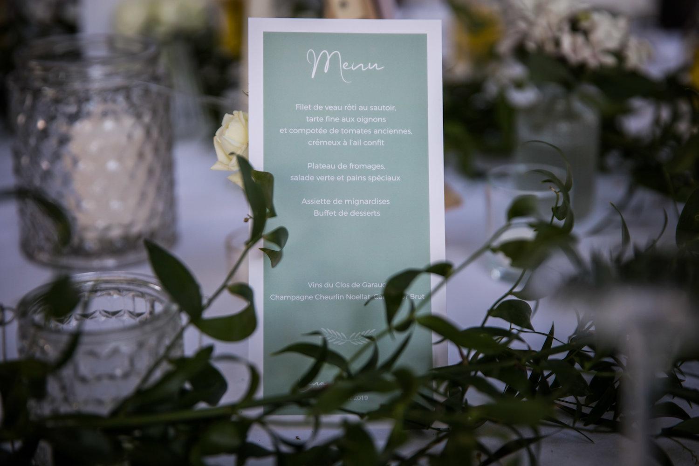 le coeur dans les etoiles - wedding planner - provence - luberon - alpilles - organisation - mariage - wedding - alexandre lorig - menu
