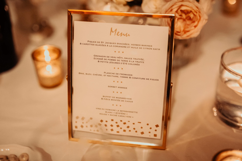 le coeur dans les etoiles - wedding planner - provence - luberon - alpilles - organisation - mariage - wedding - florine jeannot - menu