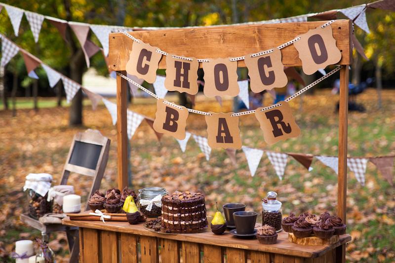 Bar à chocolat chaud mariage en hiver