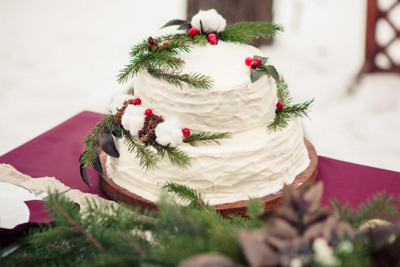 Wedding cake mariage en hiver