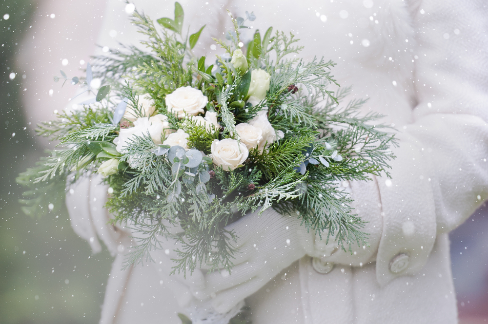 Bouquet de mariée en hiver