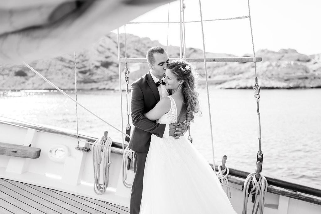 Photo de couple, mariage sur un voilier