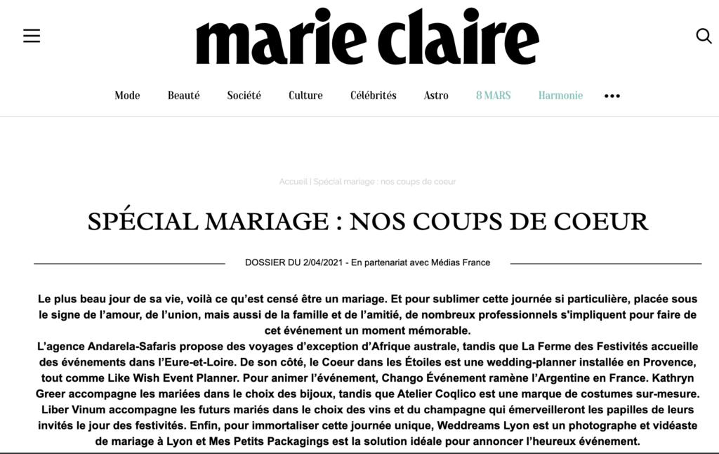 Parution dans Marie Claire